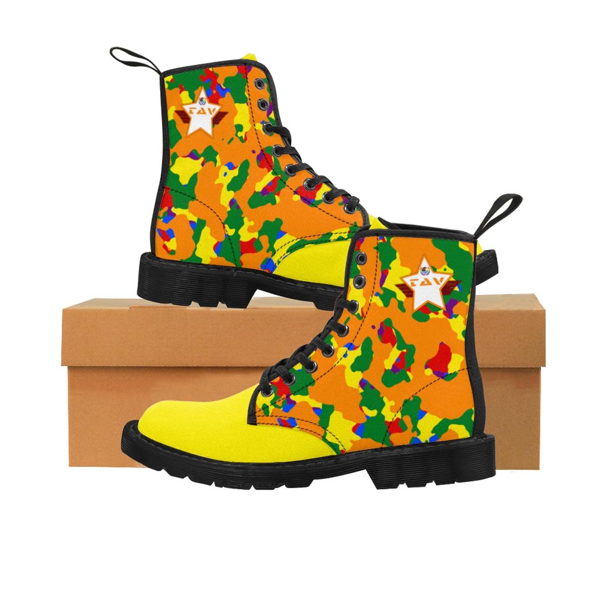Women's Partial Pride Orange Camo & Yellow Canvas Boots – Orange & White TAV Pride Shield