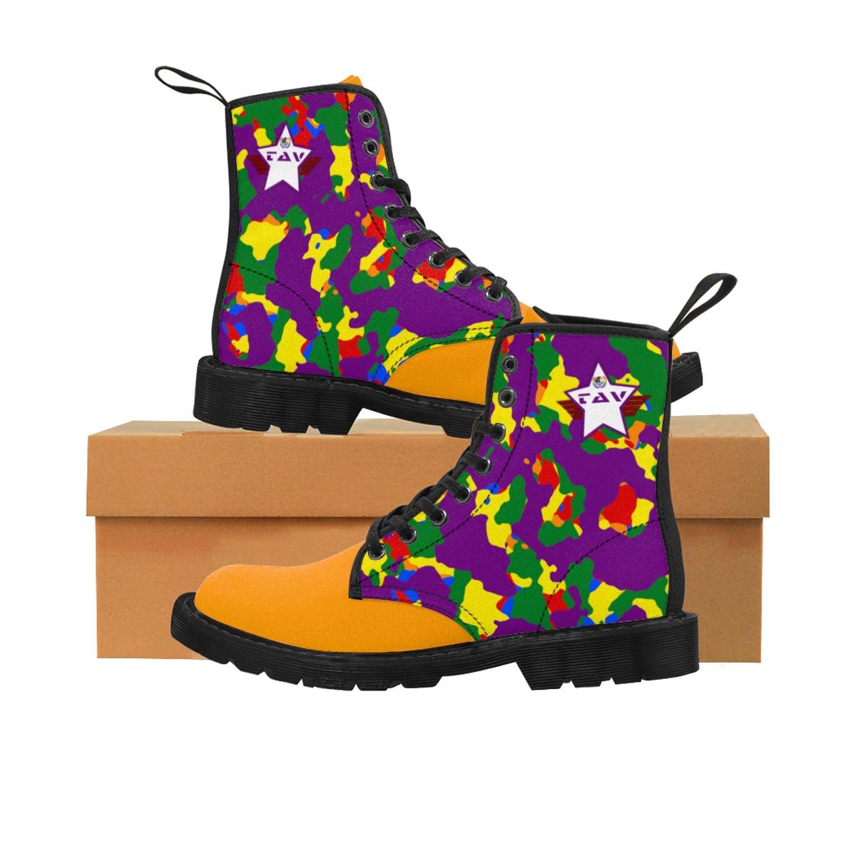 Women's Partial Pride Purple Camo & Orange Canvas Boots – Purple & White TAV Pride Shield