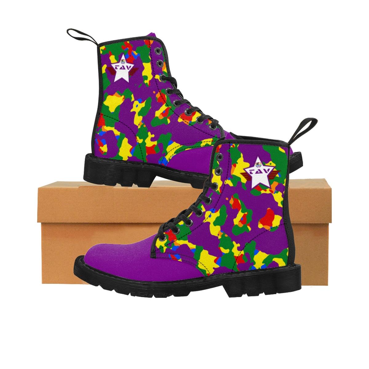 Women's Partial Pride Purple Camo & Purple Canvas Boots – Purple & White TAV Pride Shield