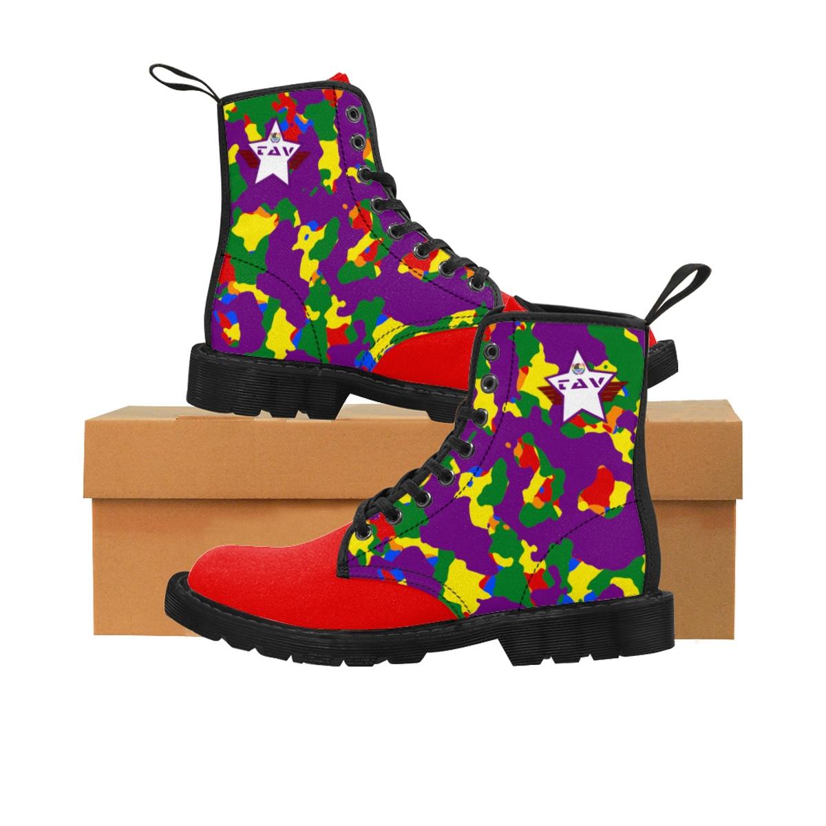 Women's Partial Pride Purple Camo & Red Canvas Boots – Purple & White TAV Pride Shield
