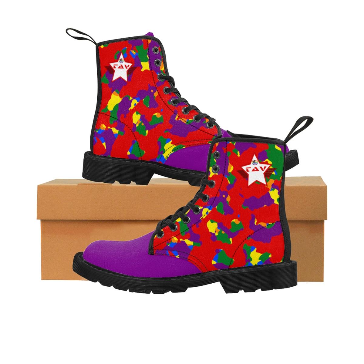 Women's Partial Pride Red Camo & Purple Canvas Boots – Red & White TAV Pride Shield