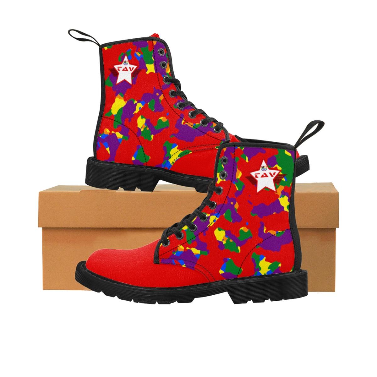 Women's Partial Pride Red Camo & Red Canvas Boots – Red & White TAV Pride Shield