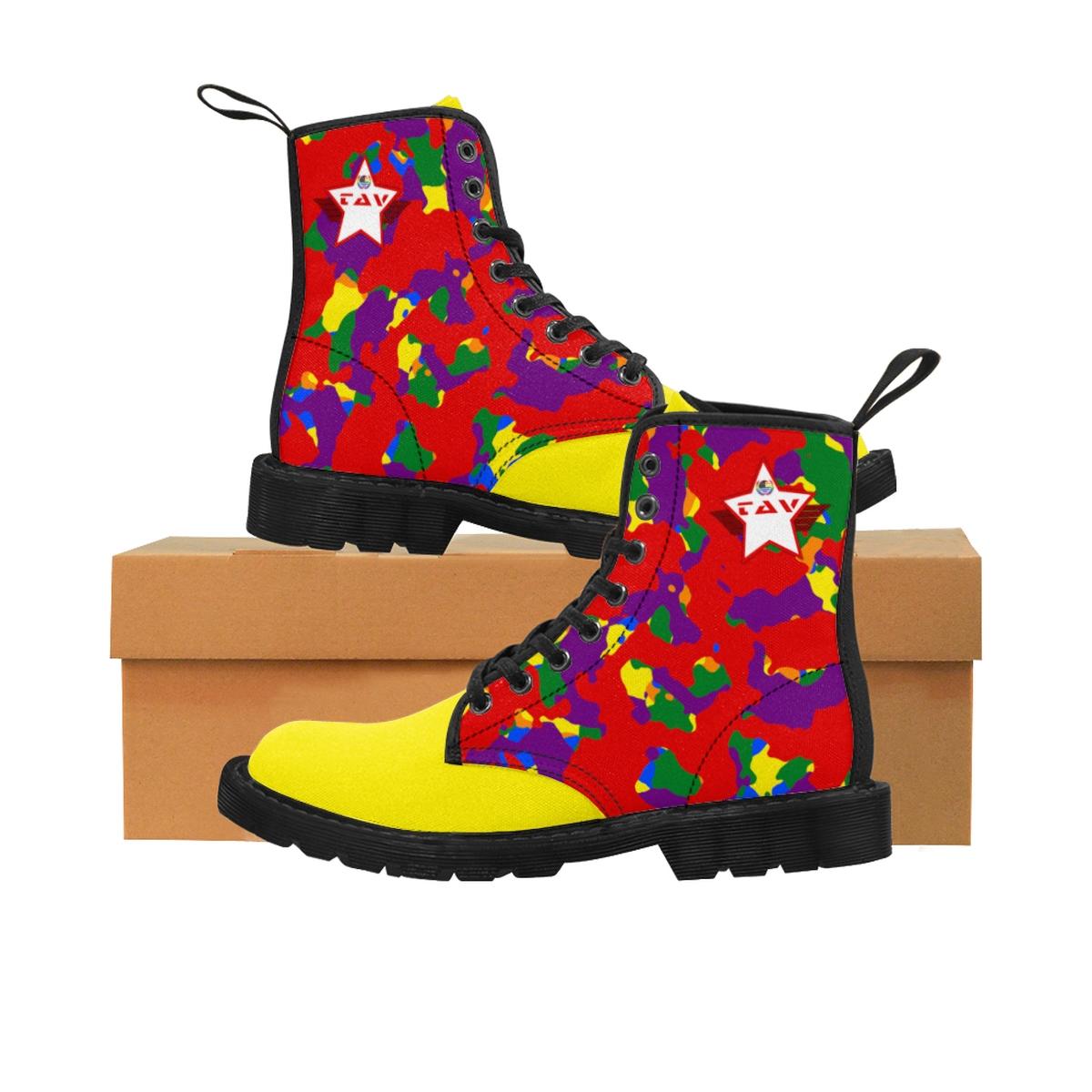 Women's Partial Pride Red Camo & Yellow Canvas Boots – Red & White TAV Pride Shield