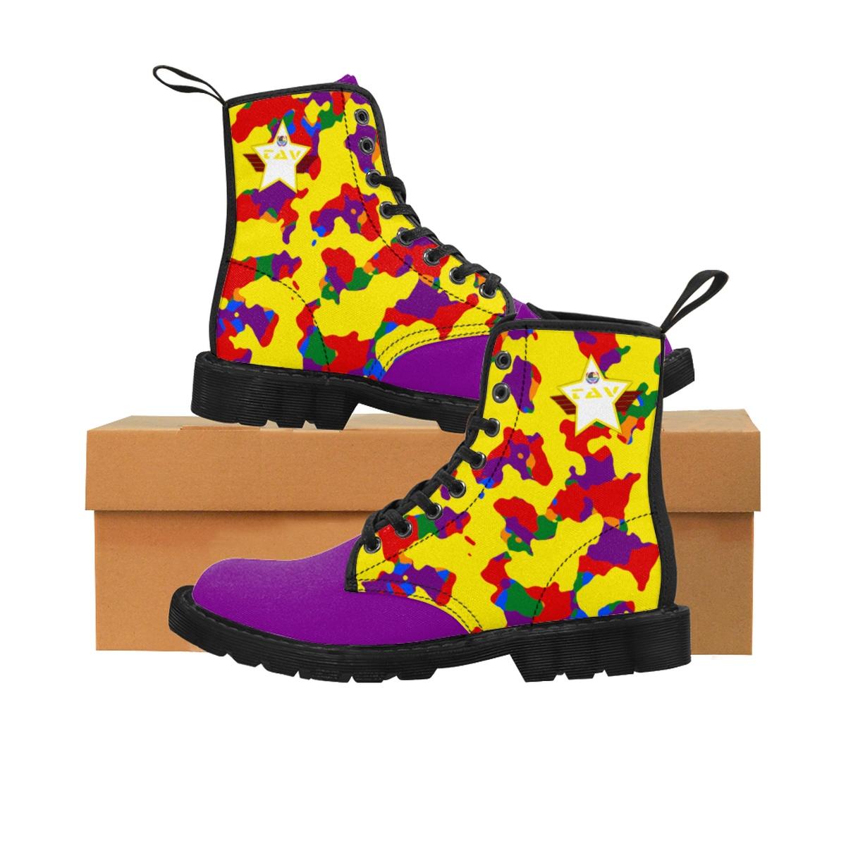 Women's Partial Pride Yellow Camo & Purple Canvas Boots – Yellow & White TAV Pride Shield