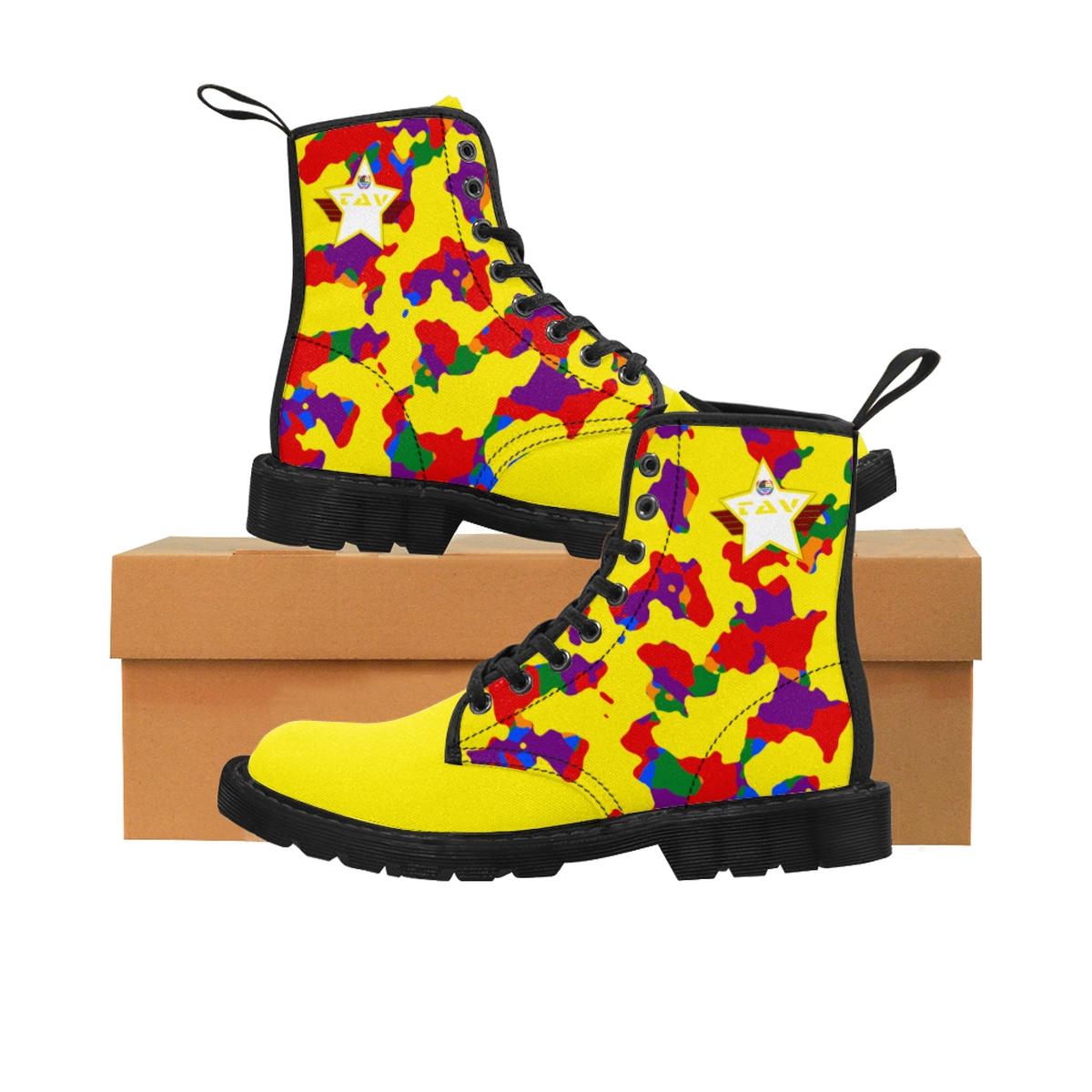 Women's Partial Pride Yellow Camo & Yellow Canvas Boots – Yellow & White TAV Pride Shield