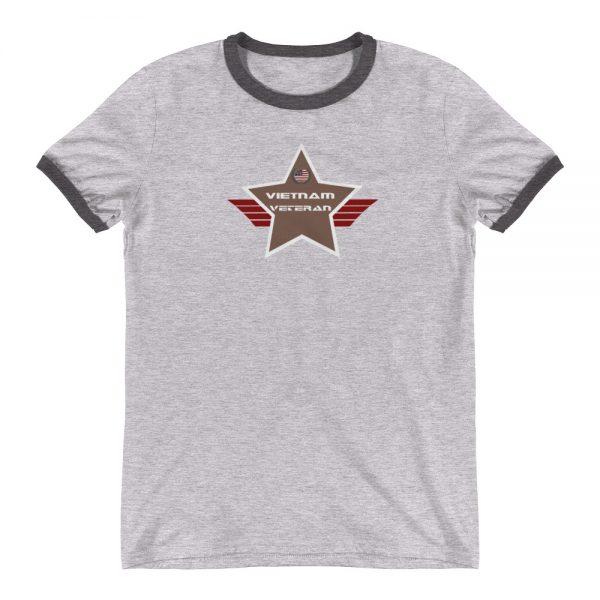 Vietnam Lightweight Ringer T-shirt with Camo Brown Shield
