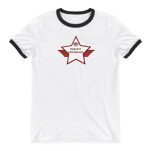 Navy Lightweight Ringer T-shirt with Red and White Shield