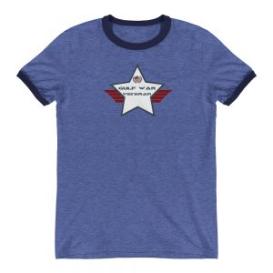 Gulf War Lightweight Ringer T-shirt with Navy and White Shield