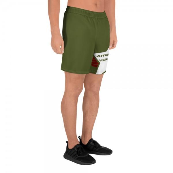 Mens Athletic Long Shorts - Army Green and White AV Shield