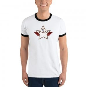 Lightweight Ringer T-shirt with LGBTQ Pride Camo Brown and White TAV Shield
