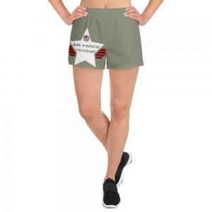 Air Force Women's Athletic Short Shorts - Camo Green and White Shield