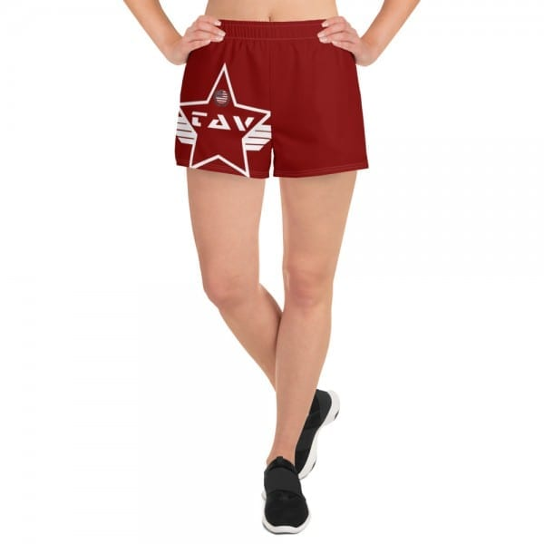 Women's Athletic Short Shorts - Red and White Wings TAV Shield