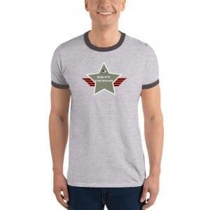 Navy LGBTQ Pride Lightweight Ringer T-shirt with Camo Green Shield