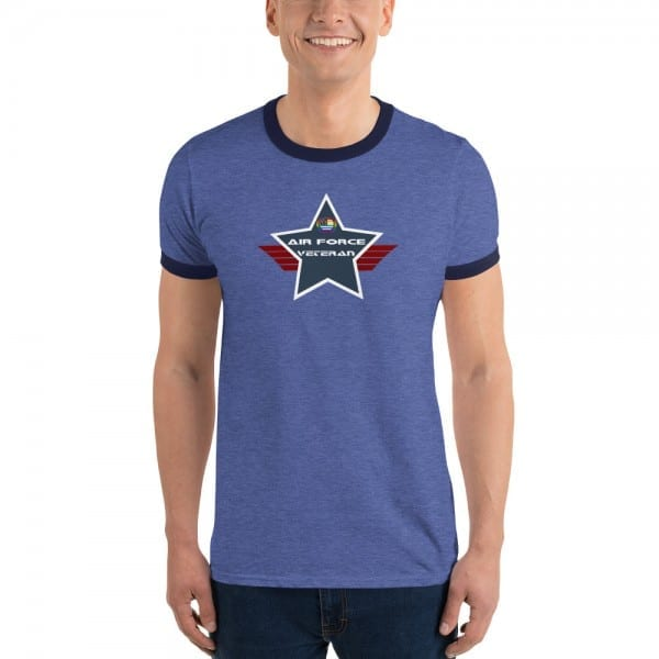 Air Force LGBTQ Pride Lightweight Ringer T-shirt with Navy Shield
