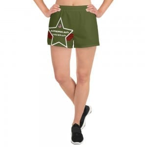 Women's Athletic Short Shorts - Army Green AV Shield