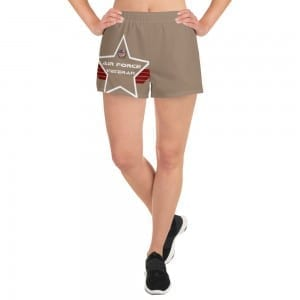 Air Force Women's Athletic Short Shorts - Desert Brown Shield