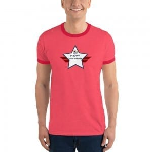 Navy LGBTQ Pride Lightweight Ringer T-shirt with Navy and White Shield