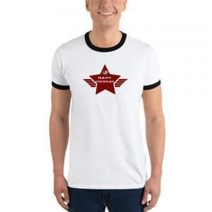 Navy LGBTQ Pride Lightweight Ringer T-shirt with Red Shield