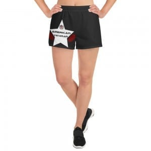 Women's Athletic Short Shorts - Black and White AV Shield
