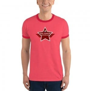 Air Force LGBTQ Pride Lightweight Ringer T-shirt with Red Shield