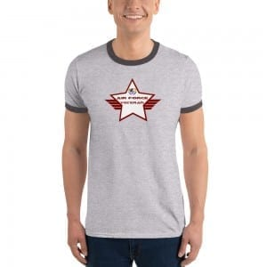 Air Force LGBTQ Pride Lightweight Ringer T-shirt with Red and White Shield