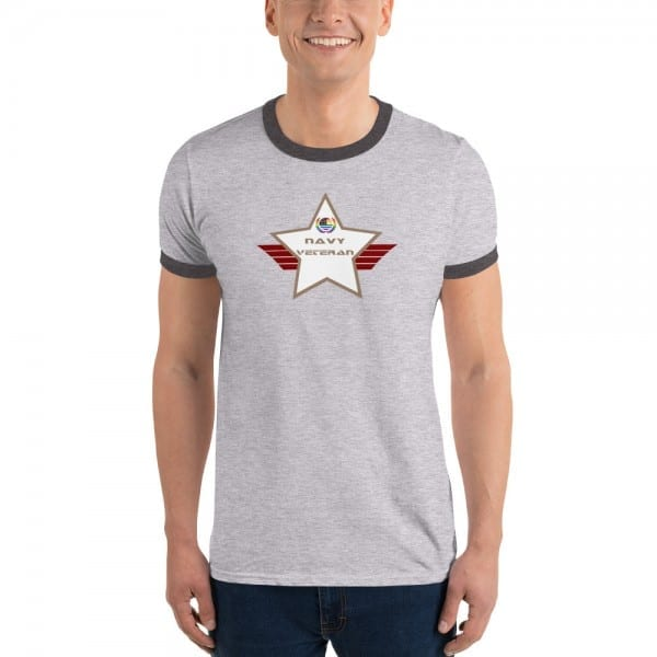 Navy LGBTQ Pride Lightweight Ringer T-shirt with Desert Brown and White Shield