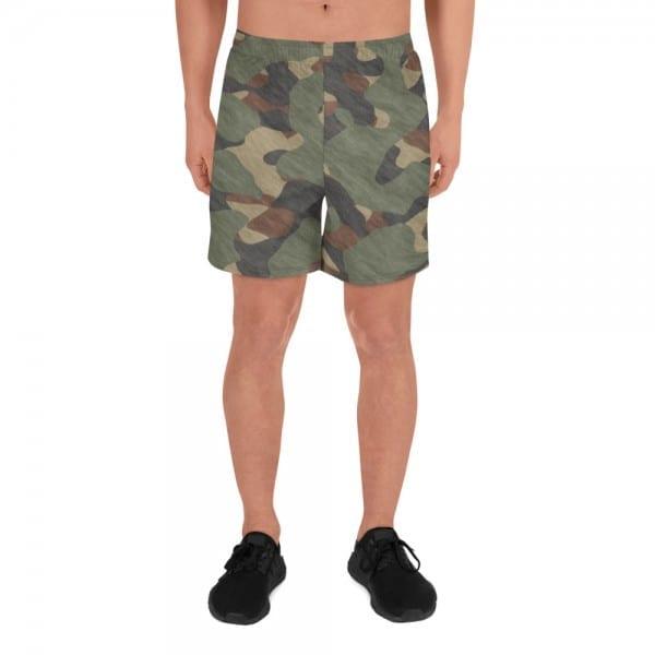 Mens Athletic Long Shorts - Green Camo