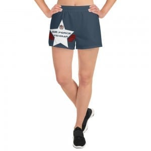 Air Force Women's Athletic Short Shorts - Navy Blue and White Shield