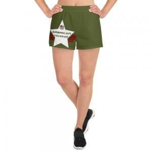 Women's Athletic Short Shorts - Army Green and White AV Shield