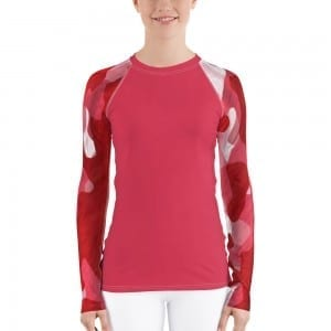 Women's Dark Pink on Red Camo Rash Guard
