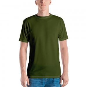 Mens Army Green Crewneck T-Shirt