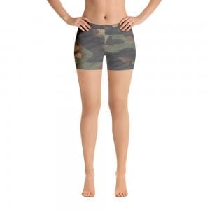 Women's Dark Green Camo Print Shorts