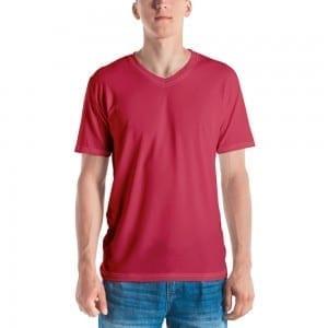 Men's Dark Pink V-Neck T-Shirt