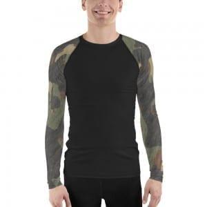 Men's Black on Dark Green Camo Rash Guard