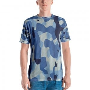 Mens Blue Camo Crewneck T-Shirt