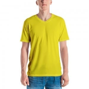 Men's Yellow V-Neck T-Shirt
