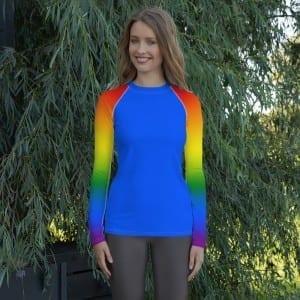 Women's LGBTQ Blue on  Pride Rainbow Rash Guard