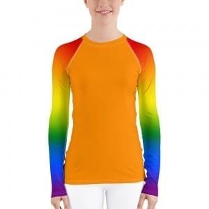Women's LGBTQ Orange on Pride Rainbow Rash Guard