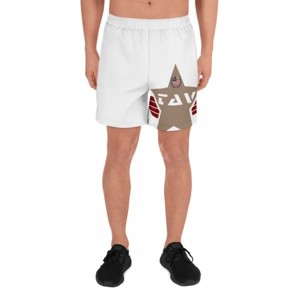 Mens White Athletic Long Shorts - Desert Brown TAV Shield