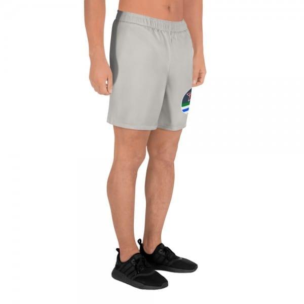 LGBTQ Men's Camo Grey Athletic Long Shorts w Pride Flag