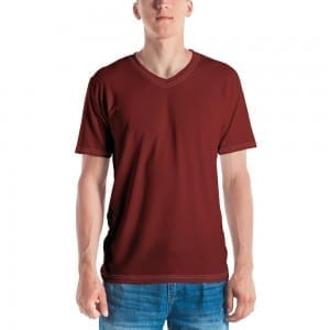 Mens Red V-Neck T-Shirt