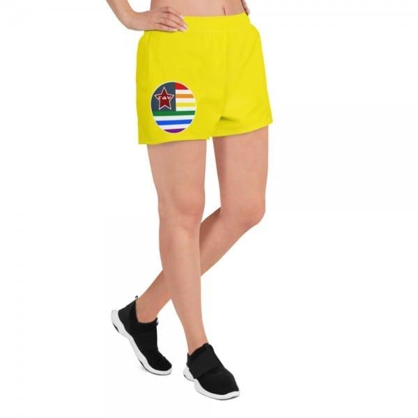 LGBTQ Women's Yellow Pride Athletic Short Shorts w Pride Flag
