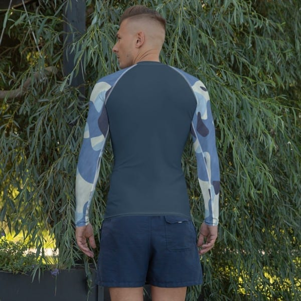 Mens Navy Blue on Blue Camo Rash Guard