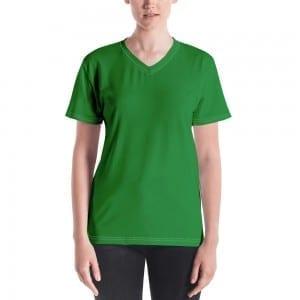 Women's Green V-Neck T-Shirt