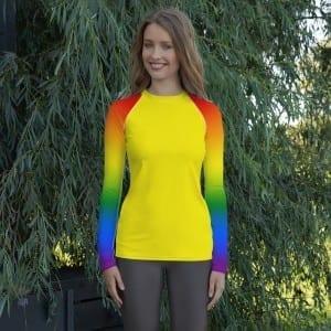Women's LGBTQ Yellow on Pride Rainbow Rash Guard