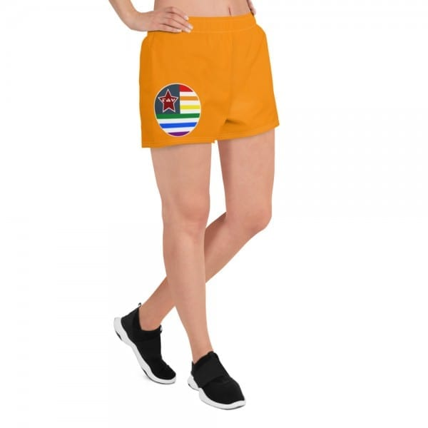 LGBTQ Women's Orange Pride Athletic Short Shorts w Pride Flag
