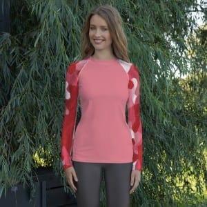 Women's Pink on Red Camo Rash Guard
