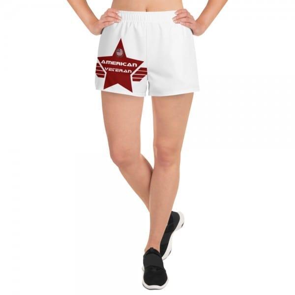 Women's White Athletic Short Shorts - Red AV Shield