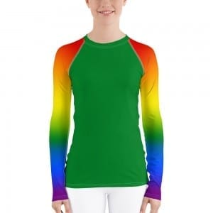 Women's LGBTQ Green on Pride Rainbow Rash Guard
