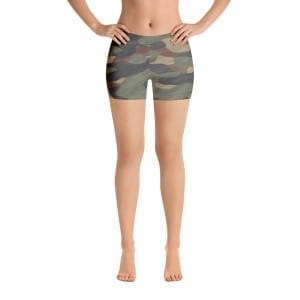 Women's Green Camo Print Shorts
